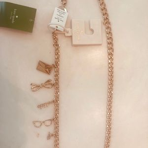 Kate Spade S/M chain belt with charms- gold